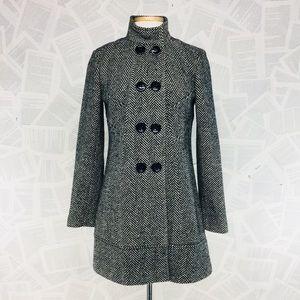 Grane Wool Blend Chevron Winter Pea Coat Medium